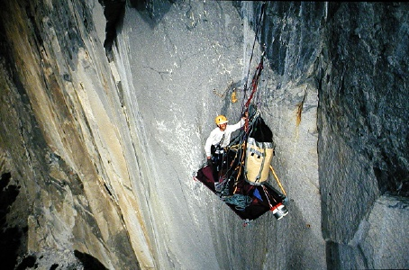 Rick at 2nd bivy on Zodiac, El Capitan, Yosemite, 2002